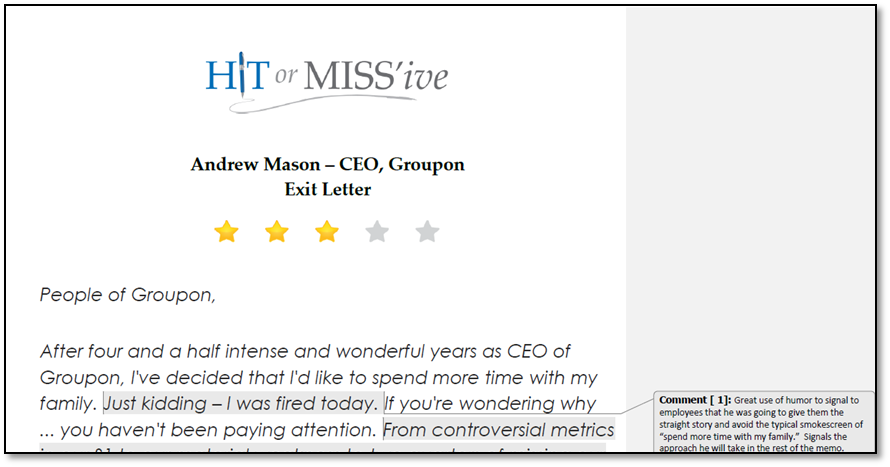 Hit or Miss'ive, the grossman group, andrew mason fired, groupon, david grossman, ceo critique