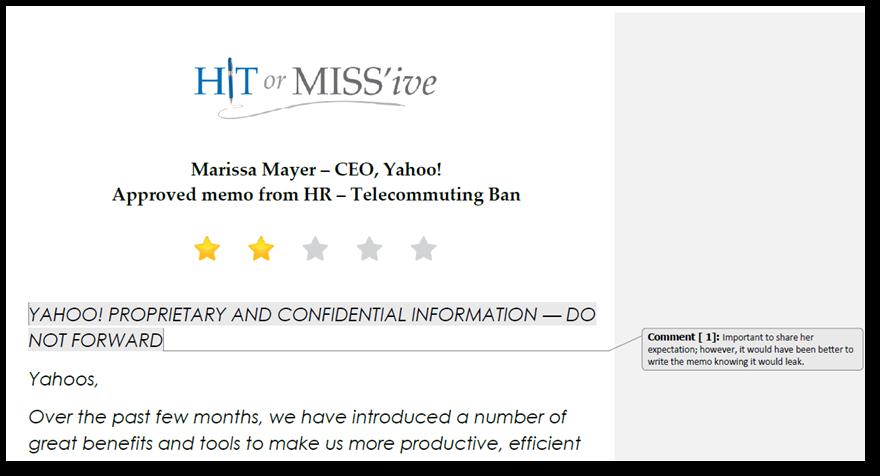 Marissa Mayer, Yahoo, Hit or Miss'ive, Yahoo telecommute ban, Yahoo work from home, CEO expert, leadership expert