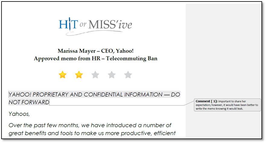 Marissa Mayer, Yahoo, Hit or Miss'ive, Yahoo telecommute ban, Yahoo work from home, CEO expert, leadership expert