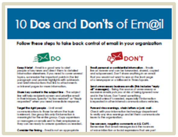 New tip sheet 10 dos and don ts of email