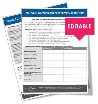 Internal Communications Inventory Worksheet | Free Download | The Grossman Group
